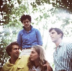 Justin Young im gelben Hemd mit seinen Kollegen von The Vaccines (Foto: Leon Diaper)