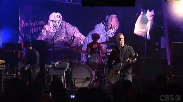 QOTSA live on Letterman (Screenshot: CBS.com)